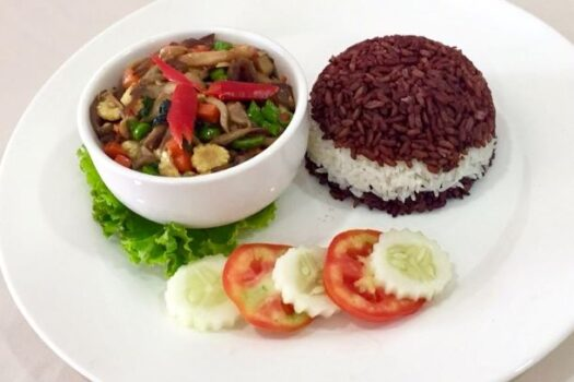 Fried mushrooms with black rice