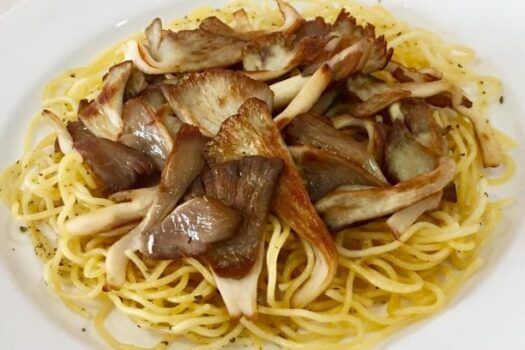 Spaghetti with grilled oyster mushrooms