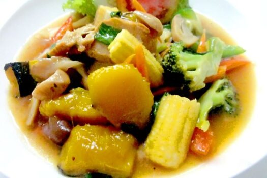 Fried pumpkin with mixed vegetables