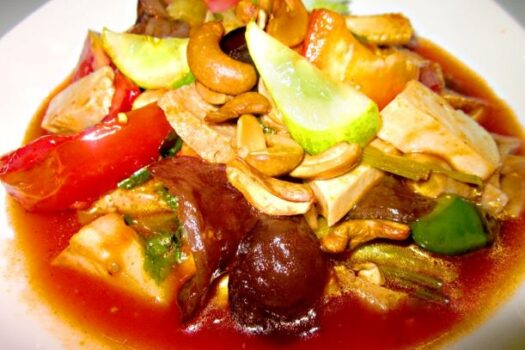 Mushrooms, cucumber, tomato and pineapples